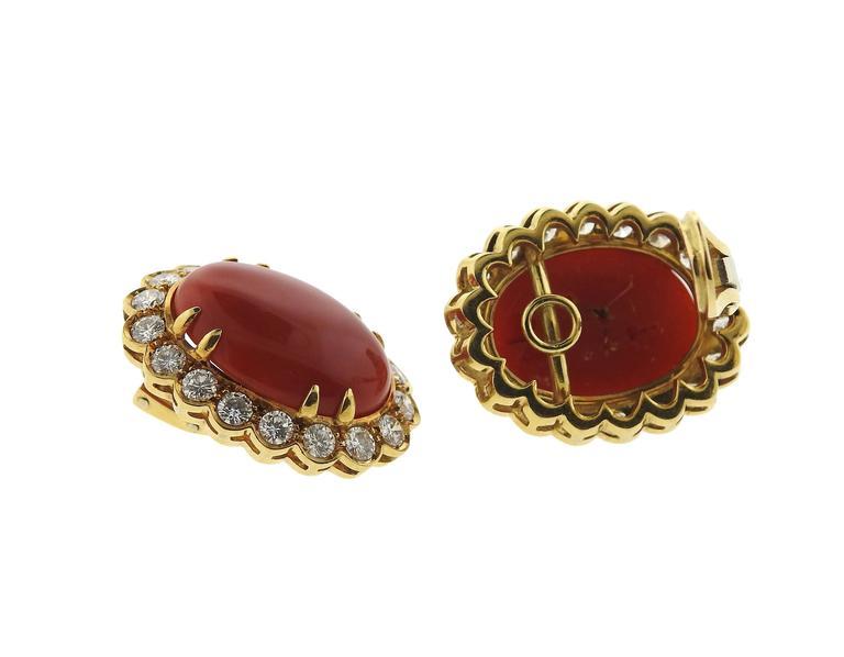 Oxblood Coral Diamond Gold Earrings 4