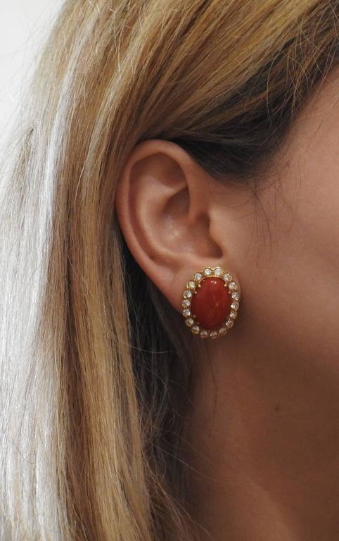Oxblood Coral Diamond Gold Earrings In Excellent Condition For Sale In Lahaska, PA