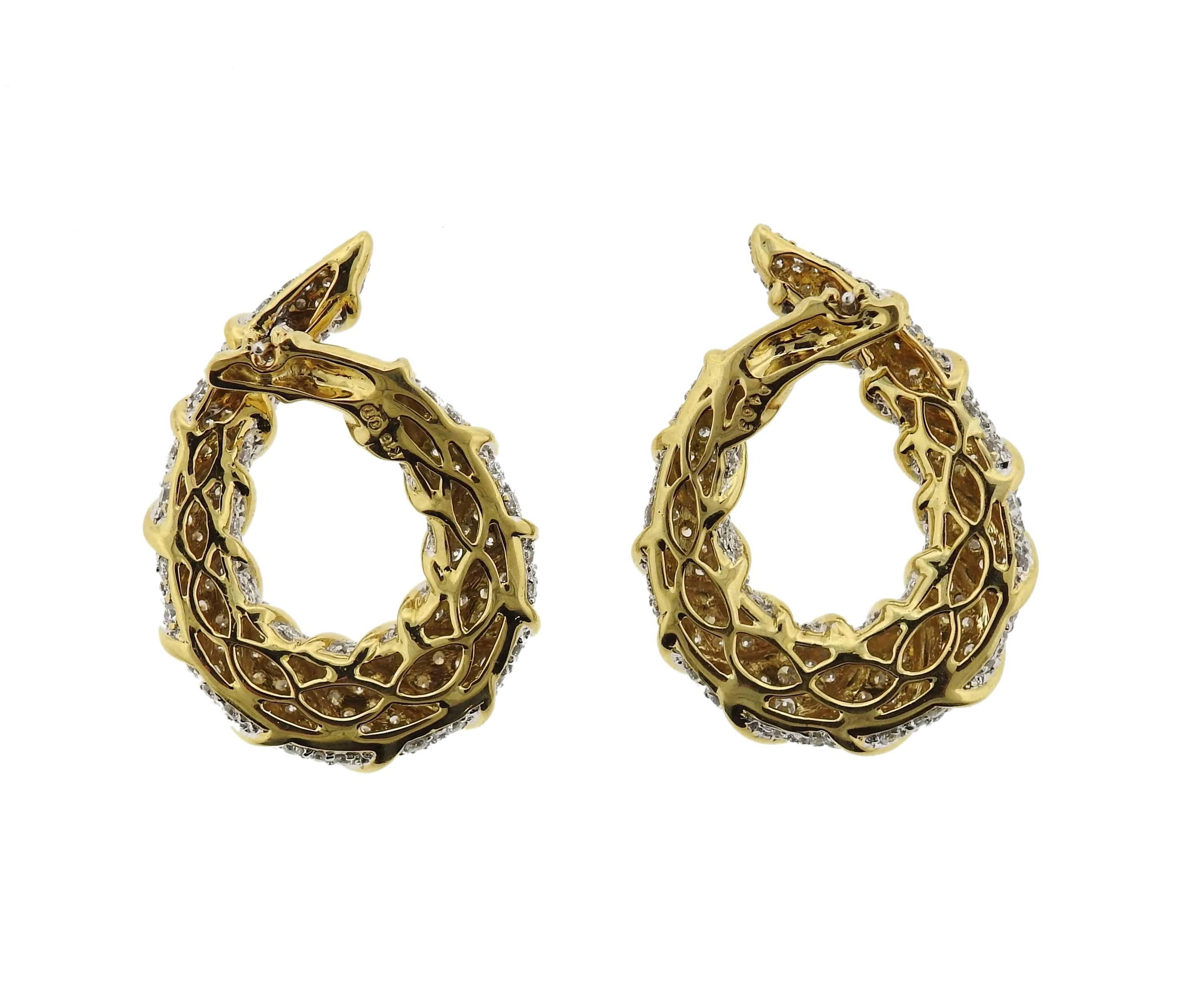 1980s Classic Diamond Gold Hoop Earrings For Sale at 1stdibs