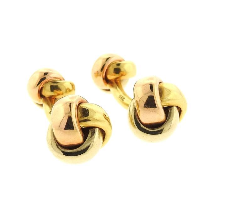 Cartier Trinity Tri Color Gold Knot Cufflinks 4
