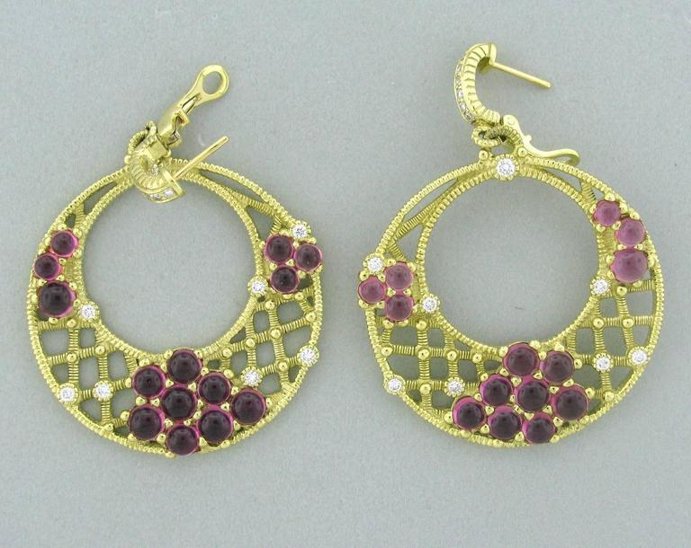 Judith Ripka Diamond Pink Tourmaline Gold Earrings In Excellent Condition For Sale In Lahaska, PA