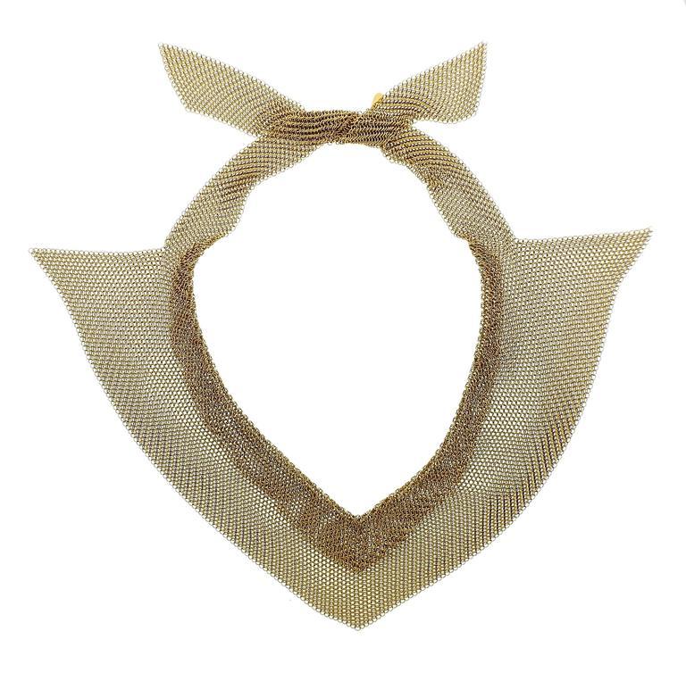 Rare Tiffany & Co Elsa Peretti Mesh Gold Collar Scarf Necklace