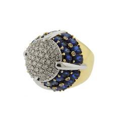 1980s Italian Sapphire Diamond Gold Dome Ring