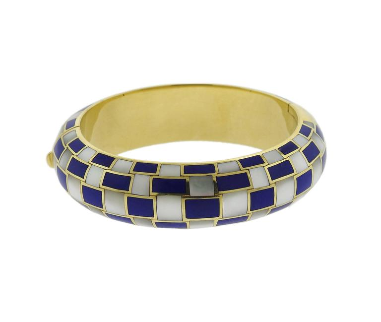 8c241dedf Tiffany & Co. Gold Inlay Dyed Blue Coral Mother of Pearl Bangle Bracelet In  Excellent
