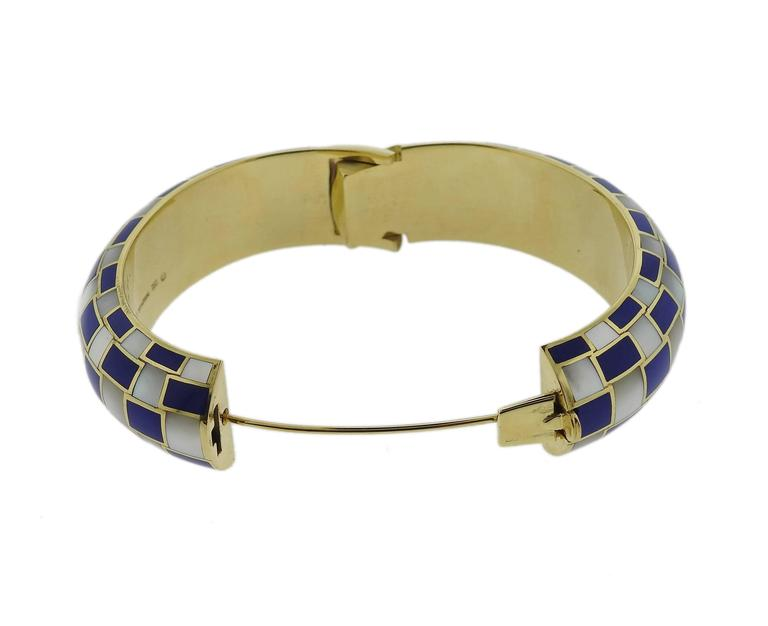 edf596ccf Women's Tiffany & Co. Gold Inlay Dyed Blue Coral Mother of Pearl Bangle  Bracelet For