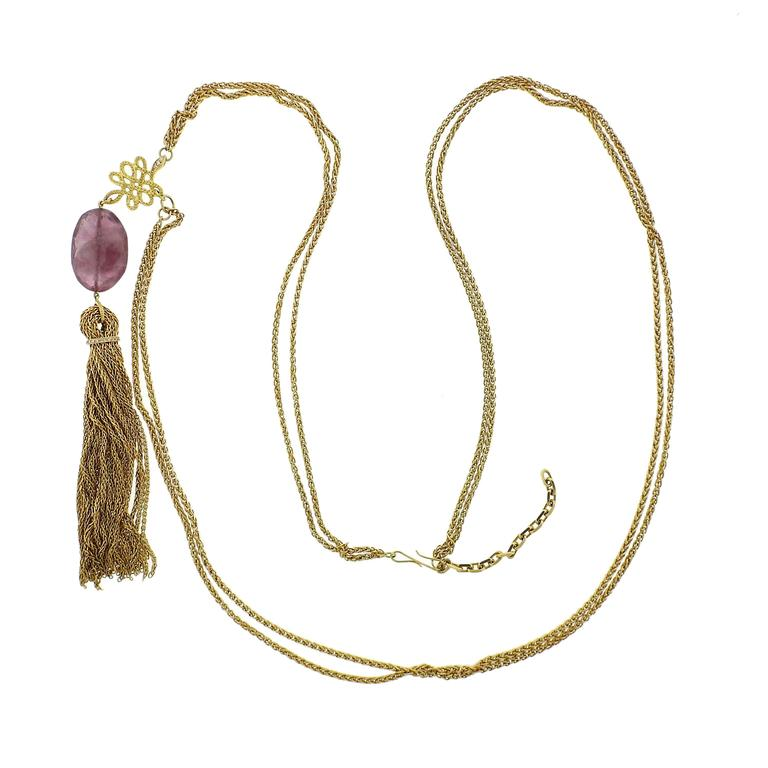 H. Stern 18 Karat Yellow Gold Diamond Gemstone Drop Tassel Pendant Necklace