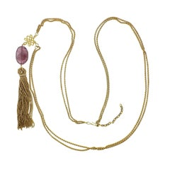H. Stern 18 Karat Yellow Gold Diamond Gemstone Drop Tassel Pendant Necklace