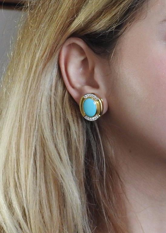 Women's David Webb Turquoise Diamond  Gold Platinum Oval Earrings For Sale