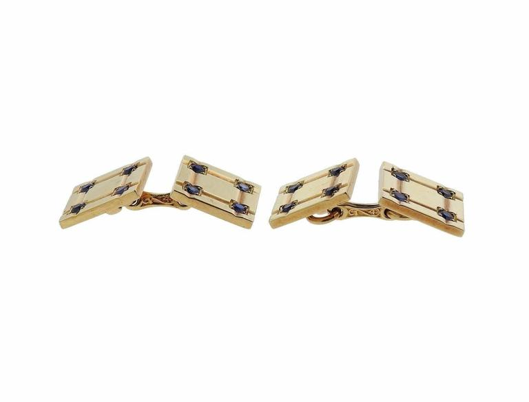 Tiffany & Co. Mid-Century Gold Sapphire Cufflinks In Excellent Condition For Sale In Boca Raton, FL