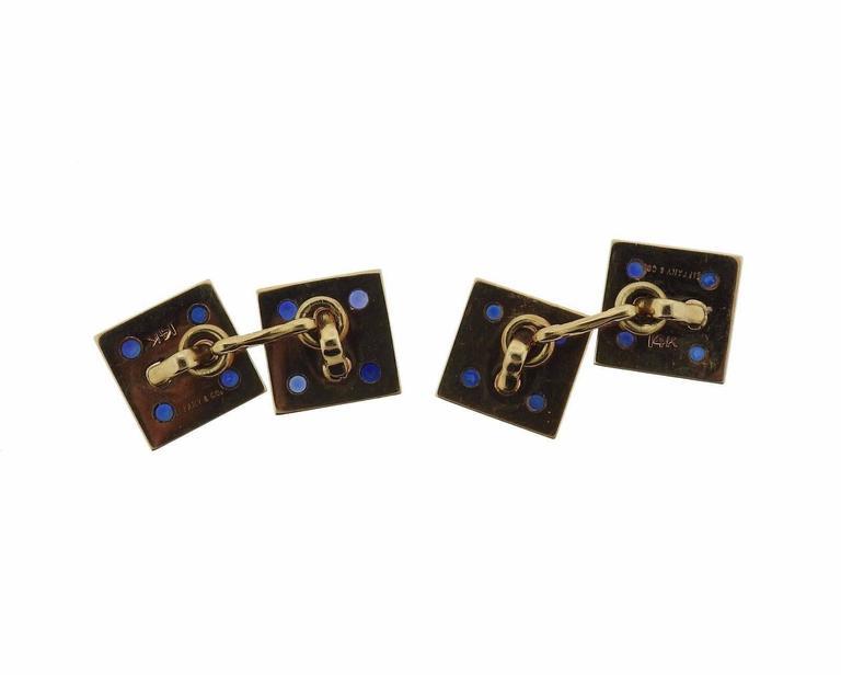 Women's Tiffany & Co. Mid-Century Gold Sapphire Cufflinks For Sale