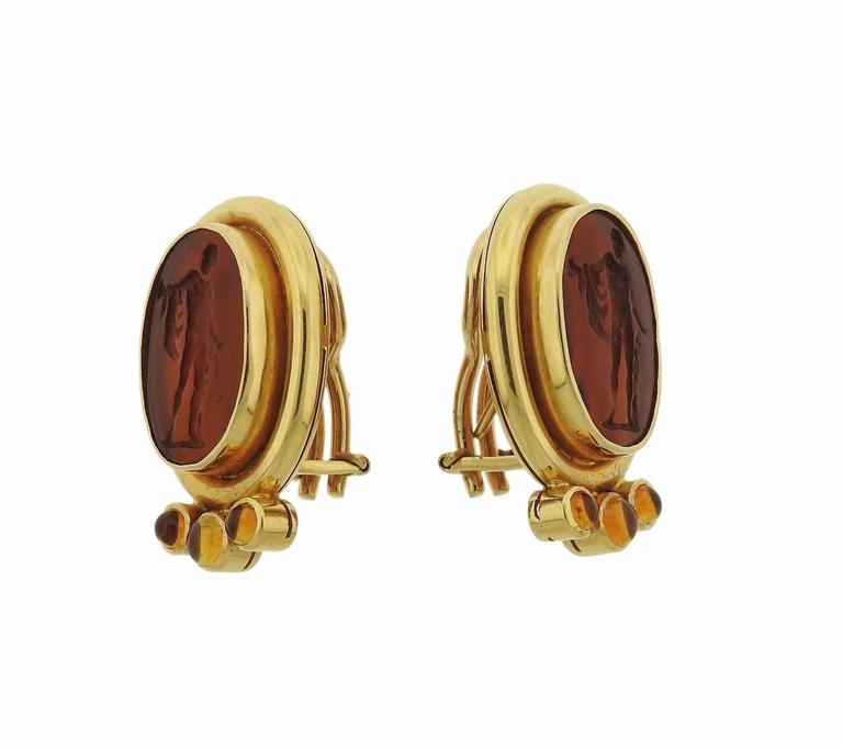Elizabeth Locke Intaglio Venetian Glass Citrine Gold Earrings 2