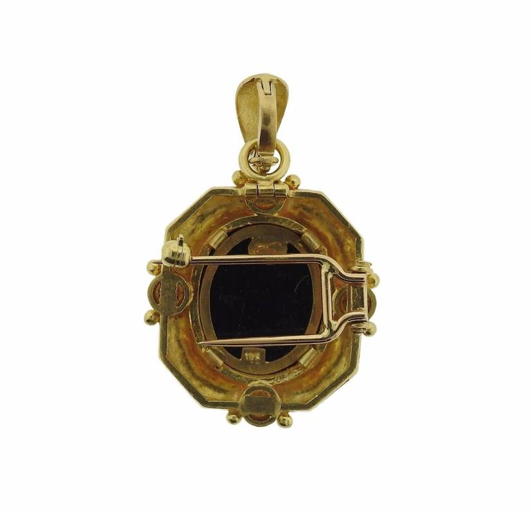 Elizabeth Locke Pearl Gold Micro Mosaic Brooch Pendant In Excellent Condition For Sale In Lahaska, PA