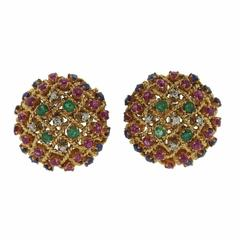 1960s Ruby Sapphire Emerald Diamond Gold Bombe Earrings