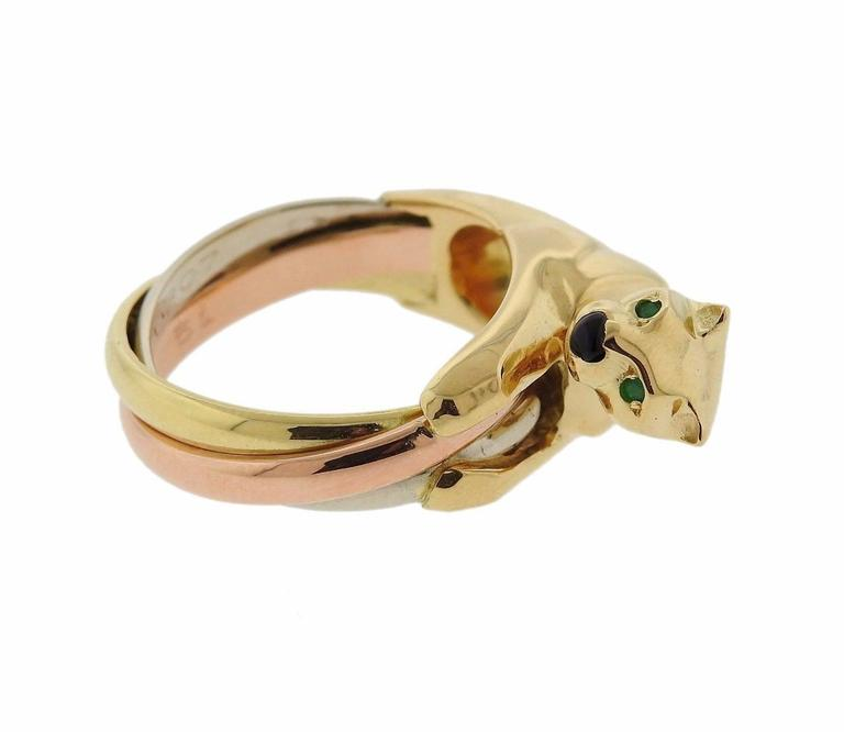 Cartier Panthere Onyx Emerald Gold Ring 3