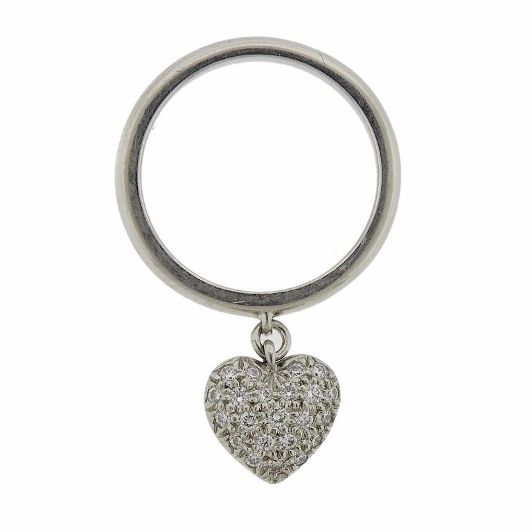 Tiffany & Co. Diamond Platinum Heart Charm Ring For Sale
