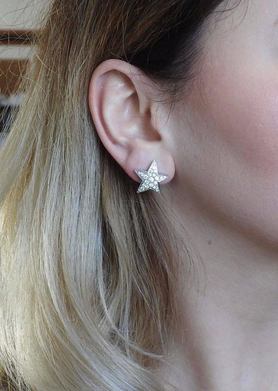 Chanel Comete Gold Diamond Star Earrings 4