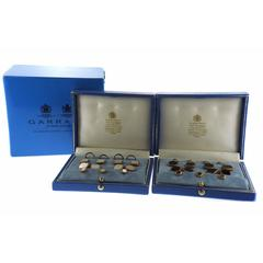 Garrard Two Sets Mother-of-Pearl and Onyx Gold Cufflink Button Stud Set