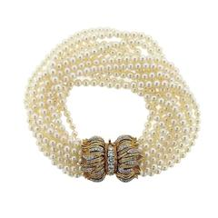 1960s Chic Pearl Diamond Gold Multi Strand Bracelet