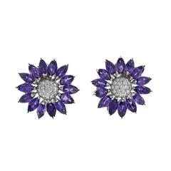 Asprey Amethyst Diamond Gold Daisy Flower Earrings