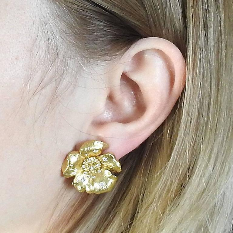 Asprey Diamond Gold English Rose Flower Earrings 2