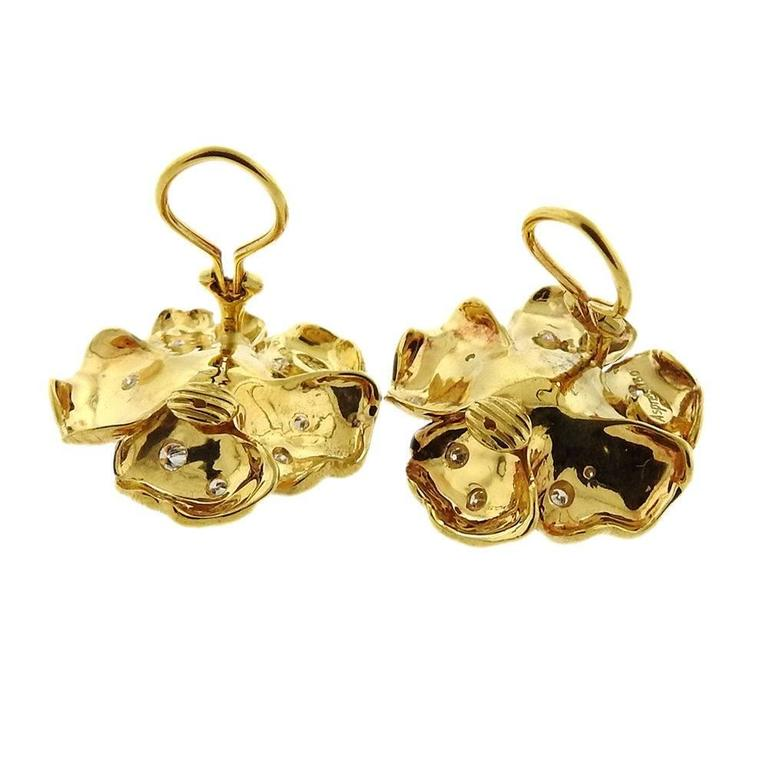 Asprey Diamond Gold English Rose Flower Earrings 4