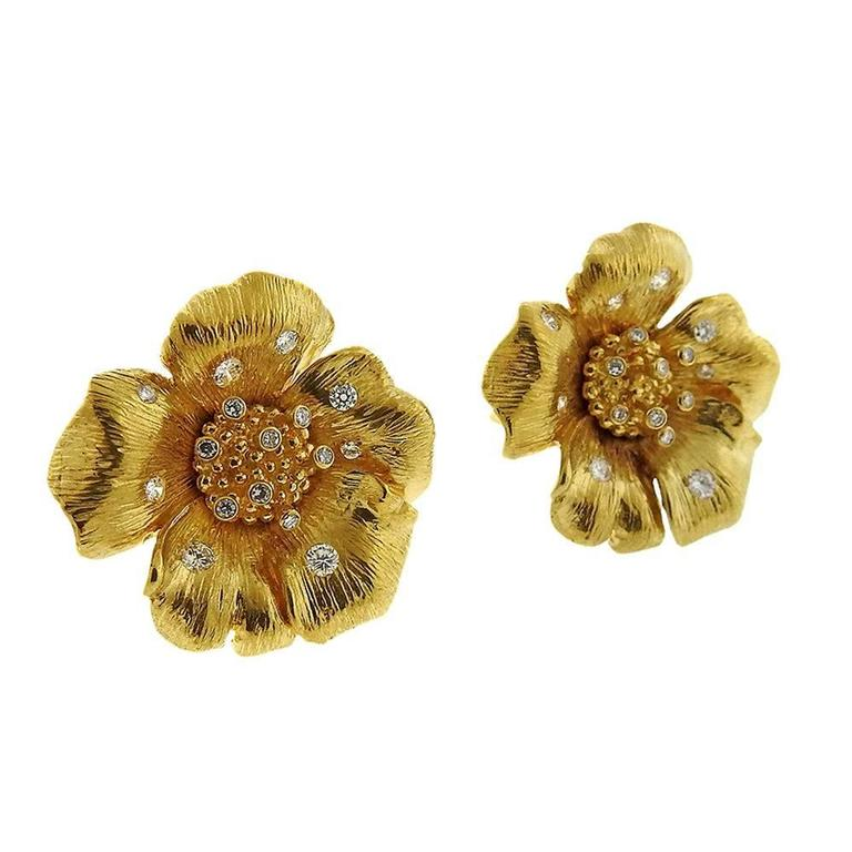 Asprey Diamond Gold English Rose Flower Earrings 5