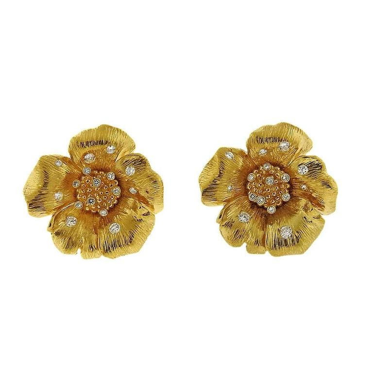 Asprey Diamond Gold English Rose Flower Earrings 1