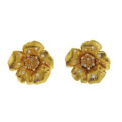 Asprey Diamond Gold English Rose Flower Earrings