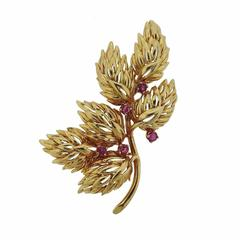 1960s Tiffany & Co. Gold Ruby Brooch Pin