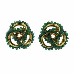Large Seaman Schepps Emerald Gold Earrings