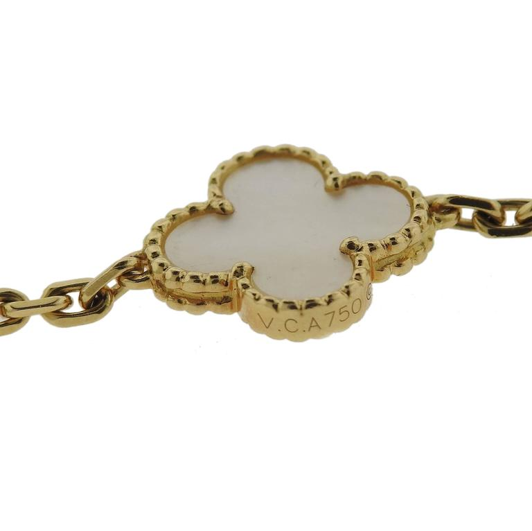 Van Cleef & Arpels Vintage Alhambra Mother-of-Pearl Gold Bracelet In Excellent Condition For Sale In Lahaska, PA