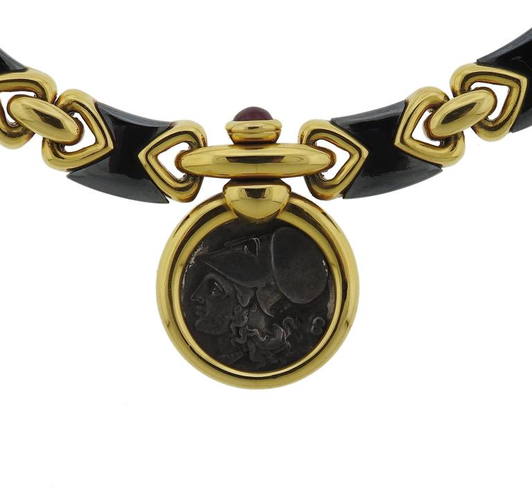 Bulgari Hematite Ancient Coin Ruby Gold Pendant Necklace For Sale 2