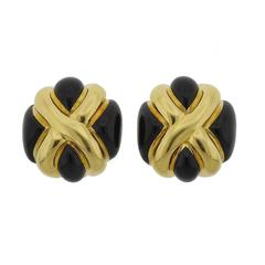Classic Andrew Clunn Onyx Gold Earrings