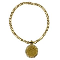 Massive 1980s Sapphire Diamond Gold Coin Pendant Necklace