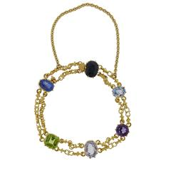 Antique Victorian Natural Multi-Color Sapphire Gold Bracelet