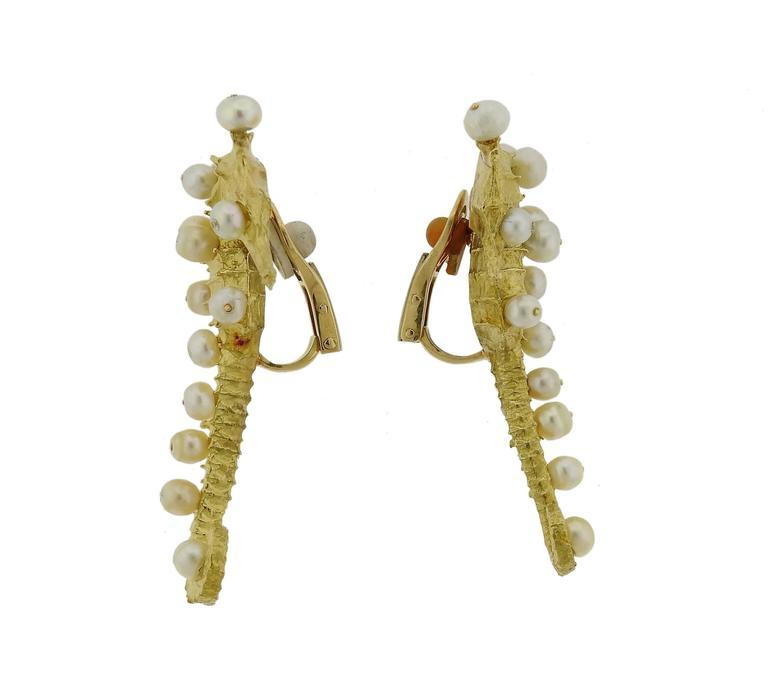 Women's Rare Jar Paris Gold Pearl Seahorse Earrings For Sale