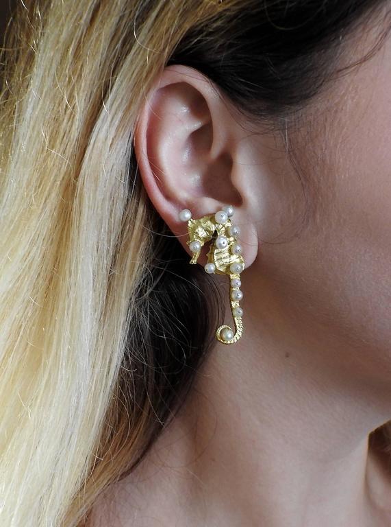 Rare Jar Paris Gold Pearl Seahorse Earrings For Sale 1