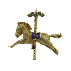 Enamel Emerald Ruby Gold Horse Carousel Brooch Pin
