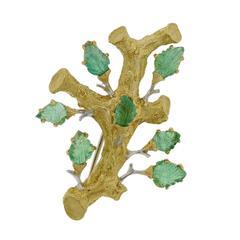 Buccellati Gold Carved Emerald Brooch Pin