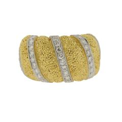 Buccellati Gold Diamond Wide Dome Cuff Ring