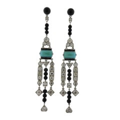 Iconic Platinum Diamond Onyx Turquoise Earrings