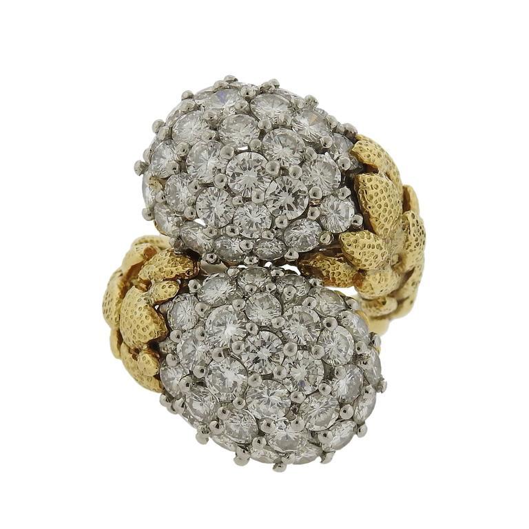 Impressive David Webb Diamond Gold Platinum Bypass Ring