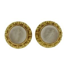 Elizabeth Locke Venetian Glass Intaglio Gold Earrings