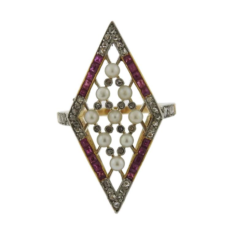 Antique Gold Ruby Diamond Pearl Ring