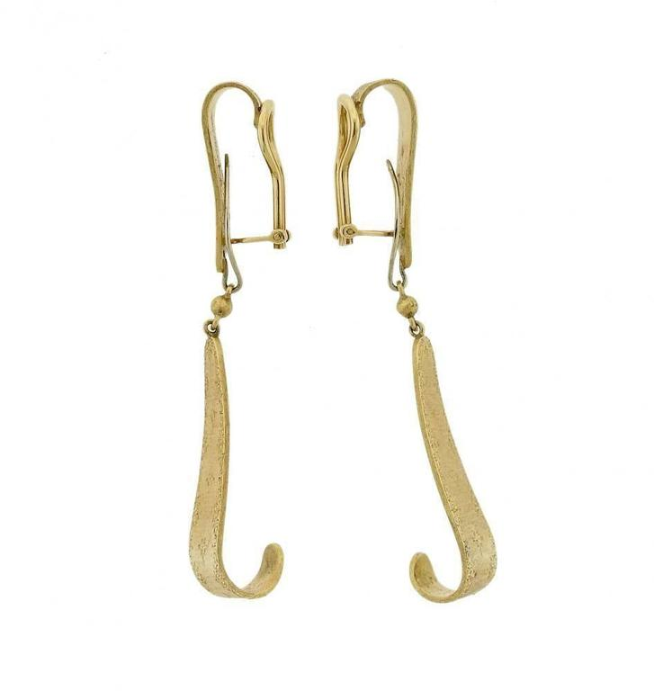 Women's 1970s Buccellati Gold Day and Night Drop Earrings For Sale