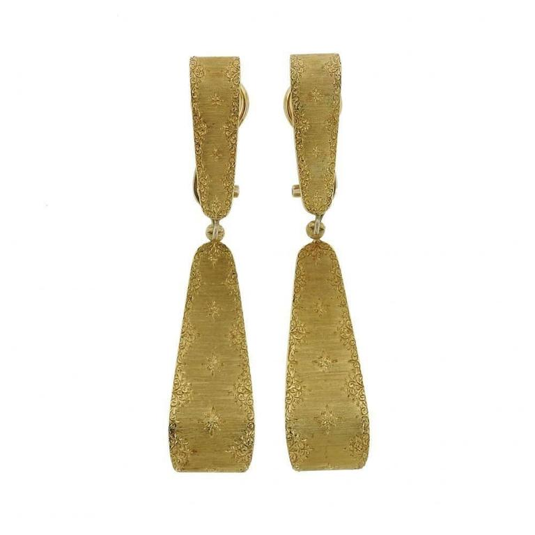 1970s Buccellati Gold Day and Night Drop Earrings