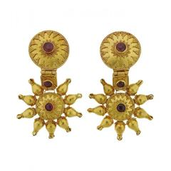 Large Ilias Lalaounis Ruby Gold Earrings