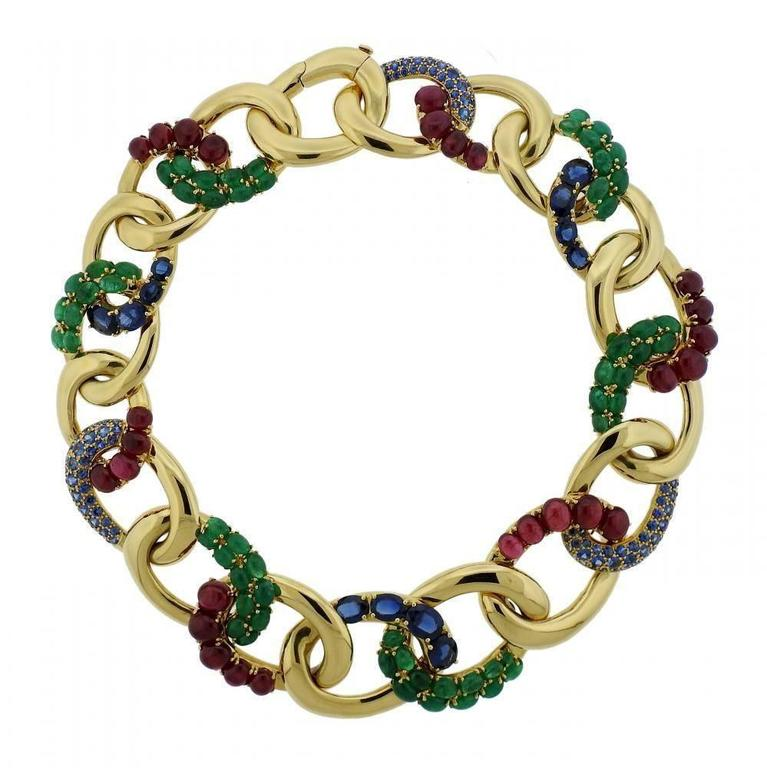 Seaman Schepps Look One-of-a-Kind  Emerald Sapphire Ruby Gold Necklace