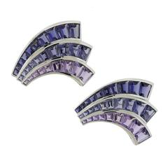 Seaman Schepps Large Iolite Amethyst Gold Fan Brooch Set