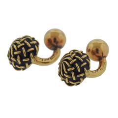 1960s Gucci Gold Blue Enamel Woven Ball Cufflinks